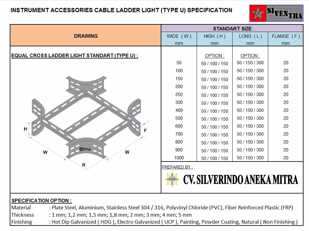 equal cross ladder light standart type u