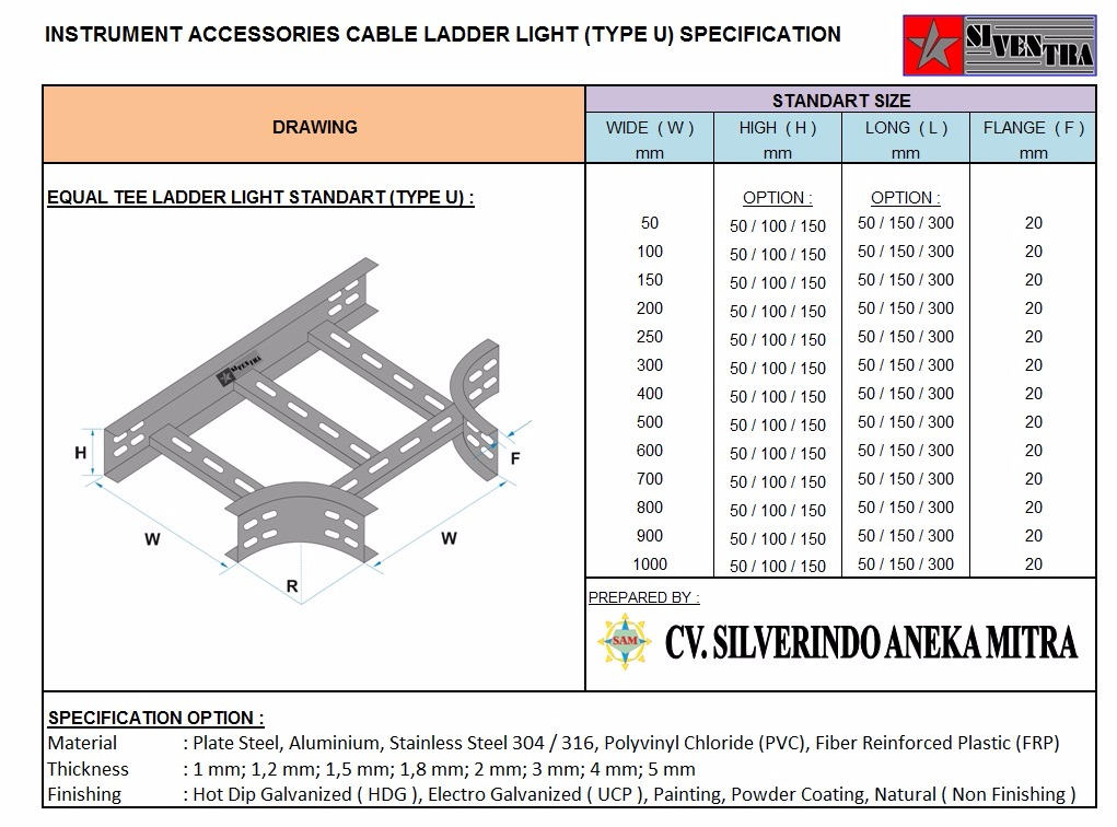 equal tee ladder light standart type u