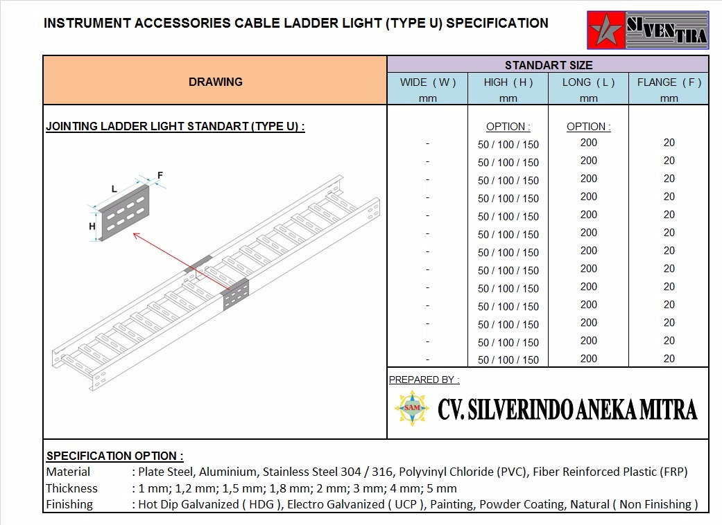 instrument accesories cable ladder light type u