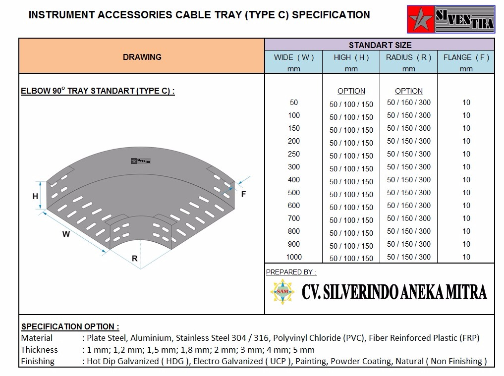 instrument accesories cable tray type c