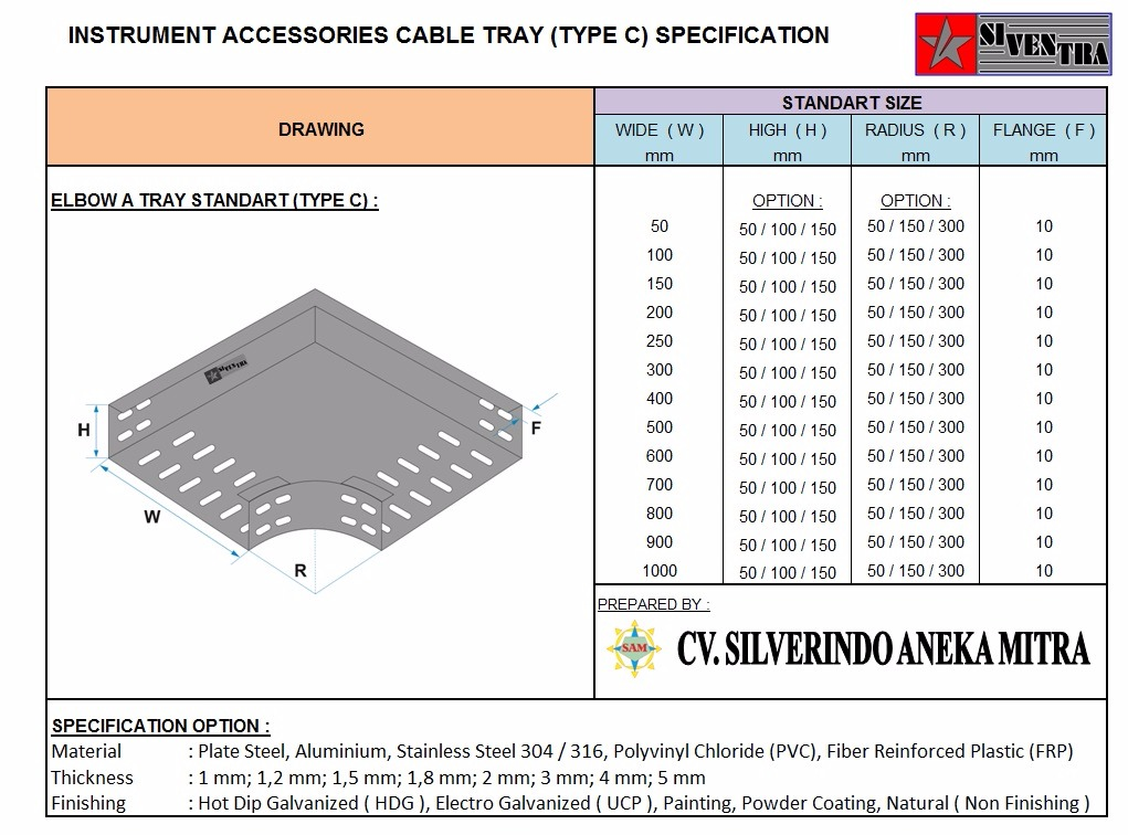 instrument accessoires cable tray type c