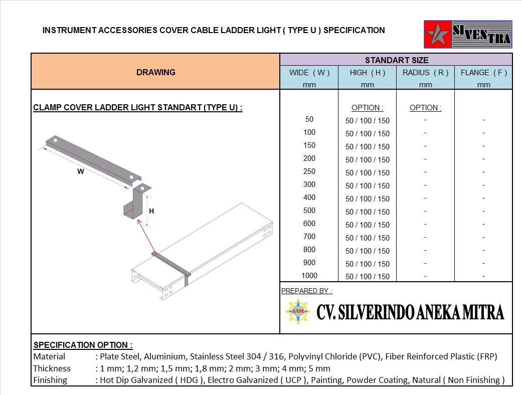 instrument accessories cover cable ladder light type u