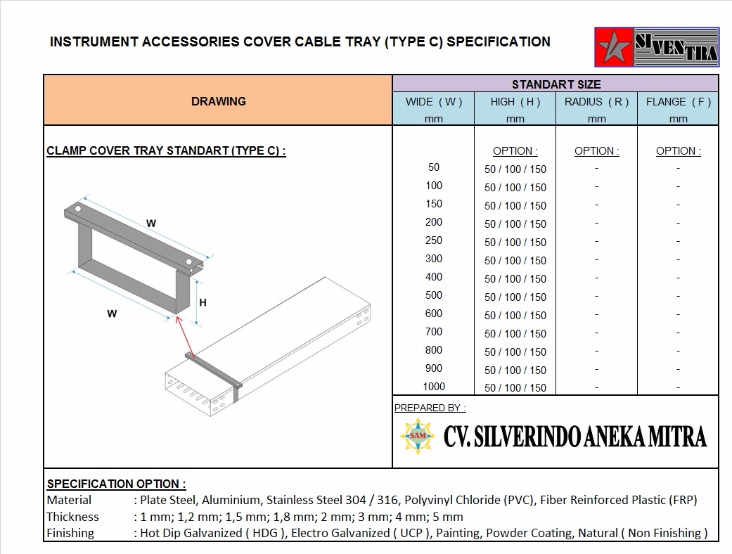instrument accessories cover cable tray type c
