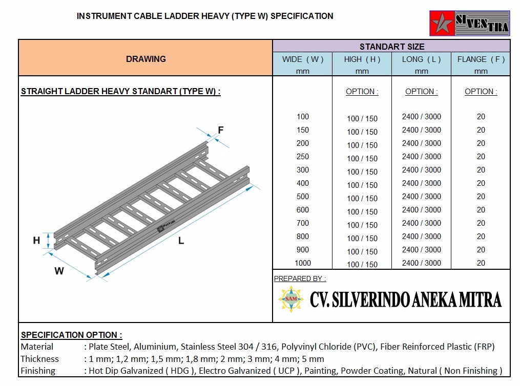 instrument cable ladder heavy type w