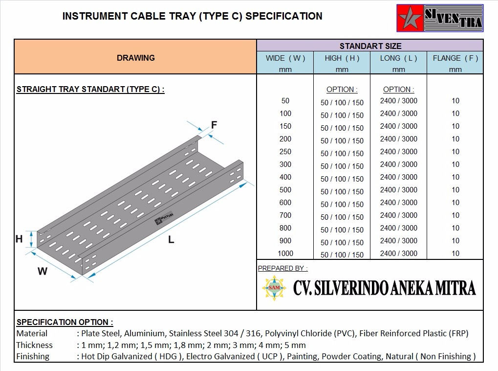 instrument cable tray type c