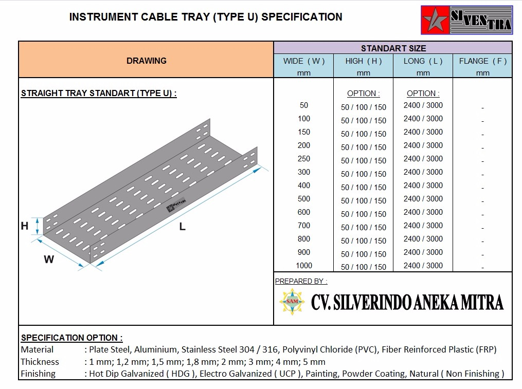 instrument cable tray type u
